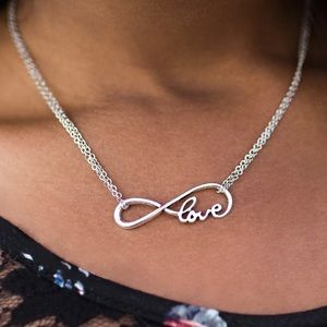 Dainty Infinity Love Silver Necklace Earring NWT